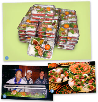bento lunch boxes, lon-site sushi chefs, party platters